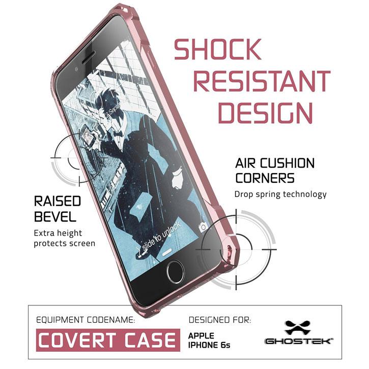 Coque iPhone 6S / 6 Ghostek Covert - Transparent / Rose Or vue sur touche