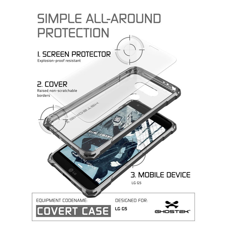 Ghostek Covert LG G5 Bumper Case - Clear / Black