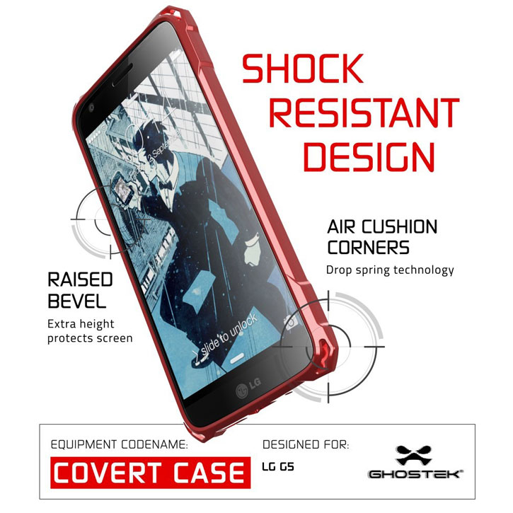 Ghostek Covert LG G5 Bumper Case - Clear / Red