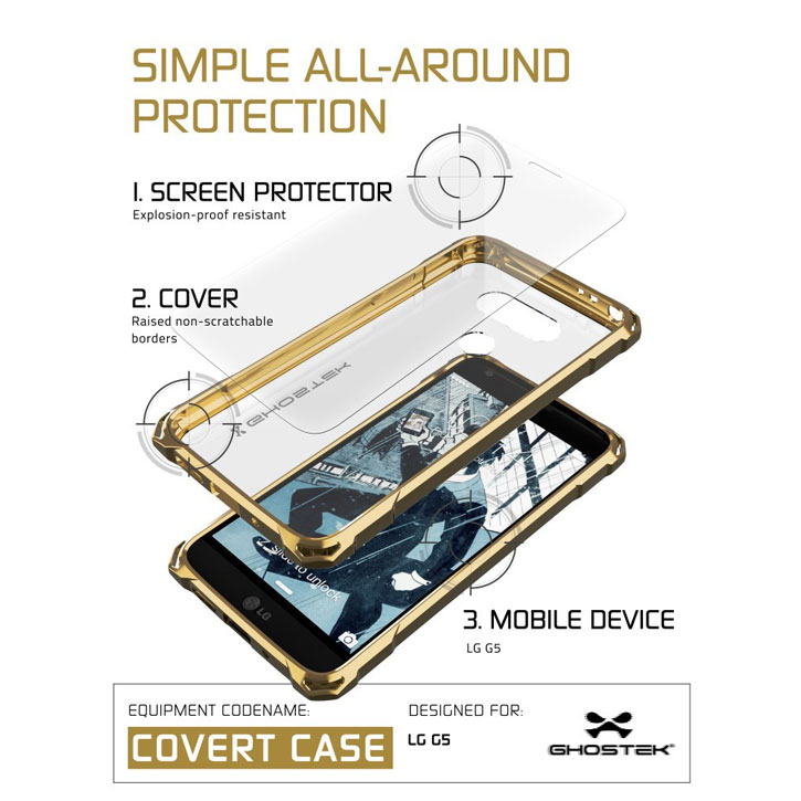 Ghostek Covert LG G5 Bumper Case - Clear / Gold