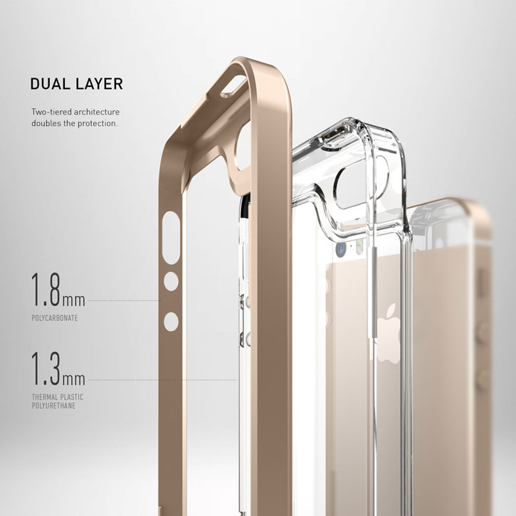 Caseology Skyfall Series iPhone SE Case - Gold / Clear
