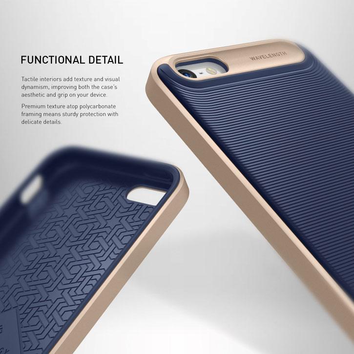 new concept 058a0 e9409 Caseology Wavelength Series iPhone SE Case - Navy Blue / Gold
