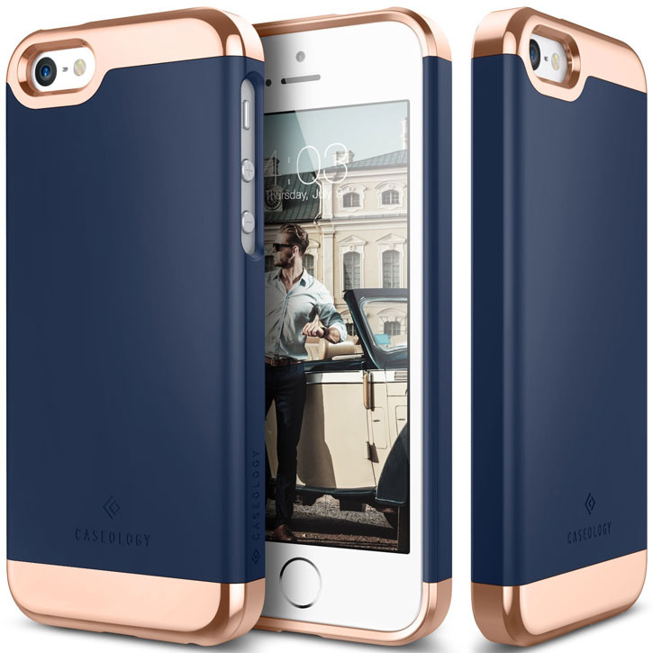 Caseology Savoy Series iPhone SE Slider Case - Navy Blue / Rose Gold