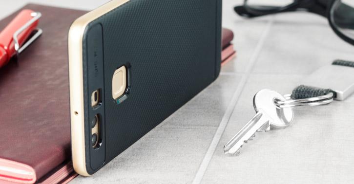 Bumper Frame Huawei P9 Case with Carbon Fibre Design - Gold