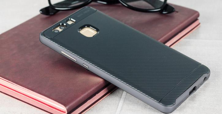 Bumper Frame Huawei P9 Case with Carbon Fibre Design - Grey