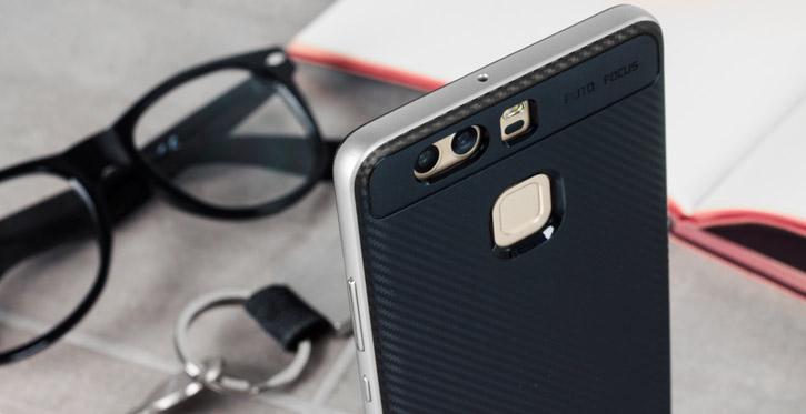 Bumper Frame Huawei P9 Case with Carbon Fibre Design - Silver