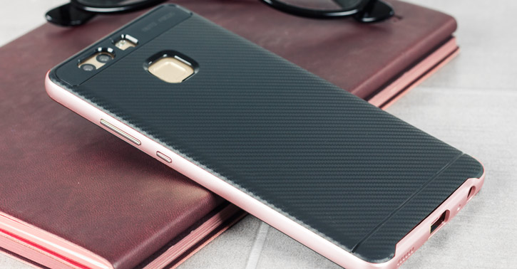 Bumper Frame Huawei P9 Case with Carbon Fibre Design - Rose Gold