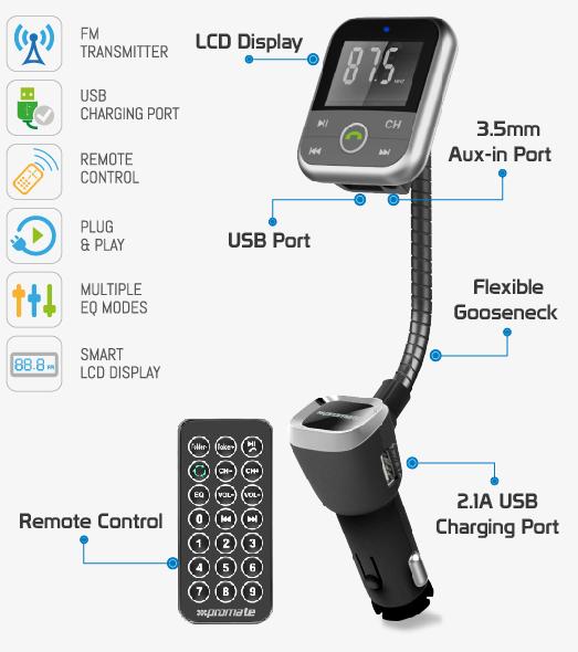 Kit transmetteur FM Promate carMate-6 sans fil et mains-libres