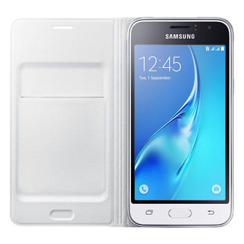 Official Samsung Galaxy J1 2016 Flip Wallet Cover - White