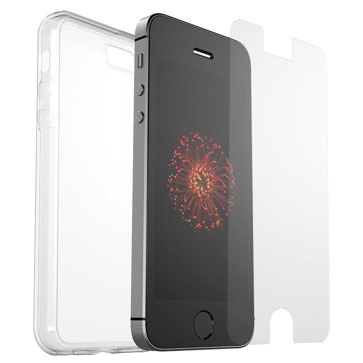 Otterbox Clear Skin Bundle iPhone SE Gel Case & Screen Protector