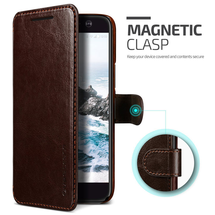 VRS Design Dandy Leather-Style HTC 10 Wallet Case - Brown