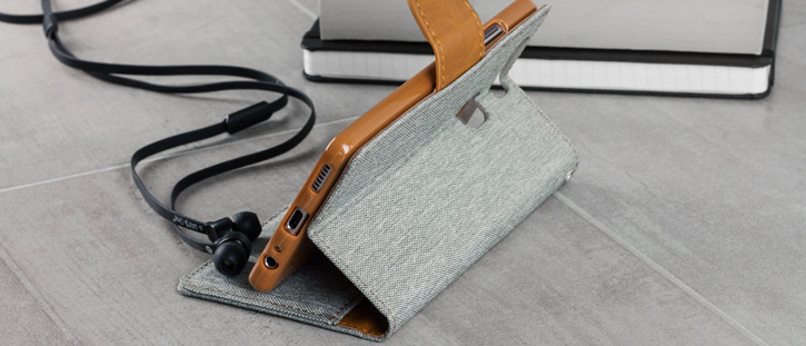 Mercury Canvas Diary Huawei P9 Wallet Case - Grey / Camel