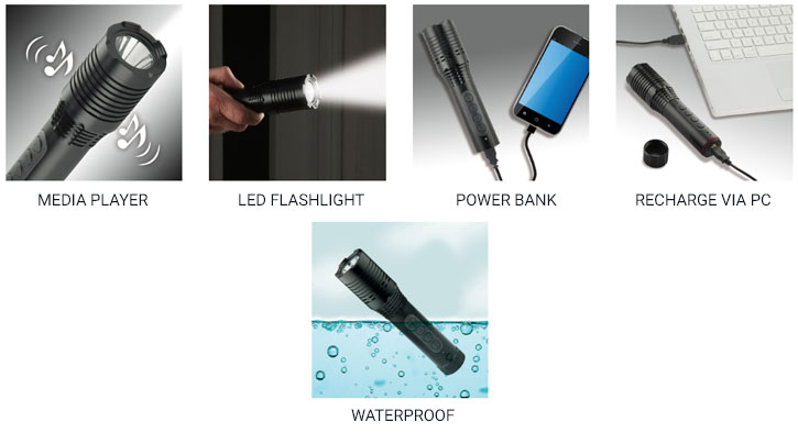 Secur 3-in-1 Waterproof Bluetooth Speaker, Flashlight & Power Bank