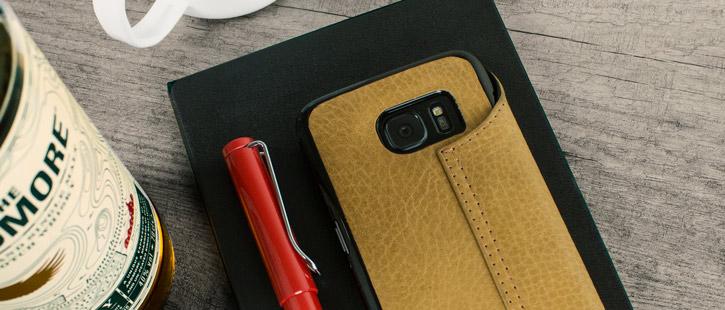 Vaja Agenda Samsung Galaxy S7 Edge Premium Leather Case - Tan Brown