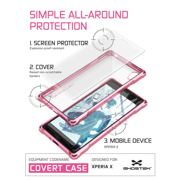 Ghostek Covert Sony Xperia X Bumper Case - Clear / Pink