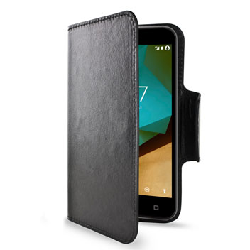 Encase Rotating Leather-Style Vodafone Smart Prime 7 Wallet Case - Black