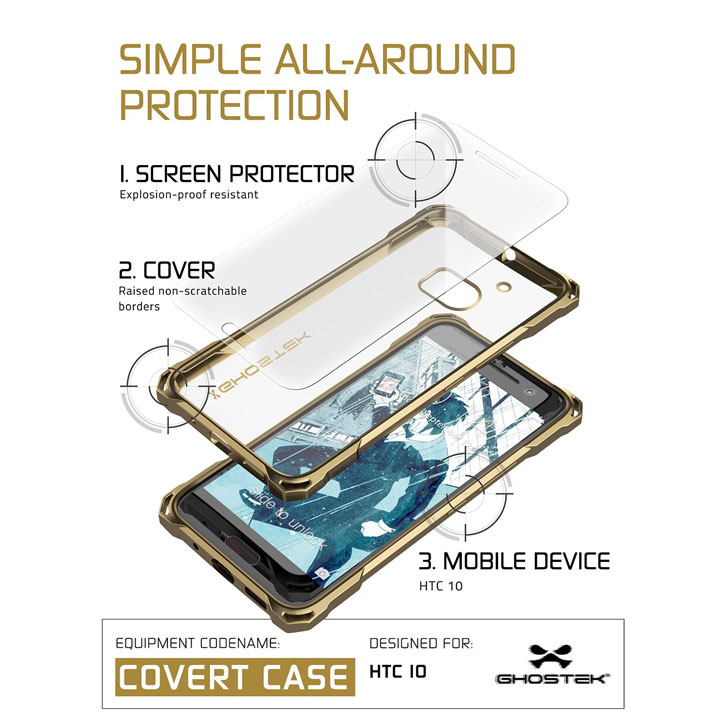 Ghostek Covert HTC 10 Bumper Case - Clear / Gold