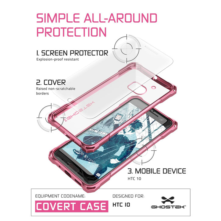 Ghostek Covert HTC 10 Bumper Case - Clear / Red