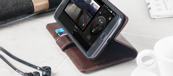 Olixar Genuine Leather Moto G4 Plus Wallet Stand Case - Brown