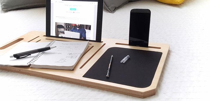 application lappad macbook, tablet smartphone lap tray organiser blu