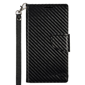 Zizo Carbon Fibre Style HTC 10 Wallet Case - Black