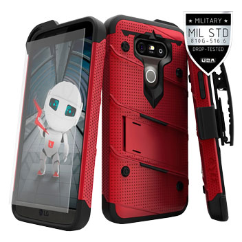 Zizo Bolt Series LG G5 Tough Case & Belt Clip - Red