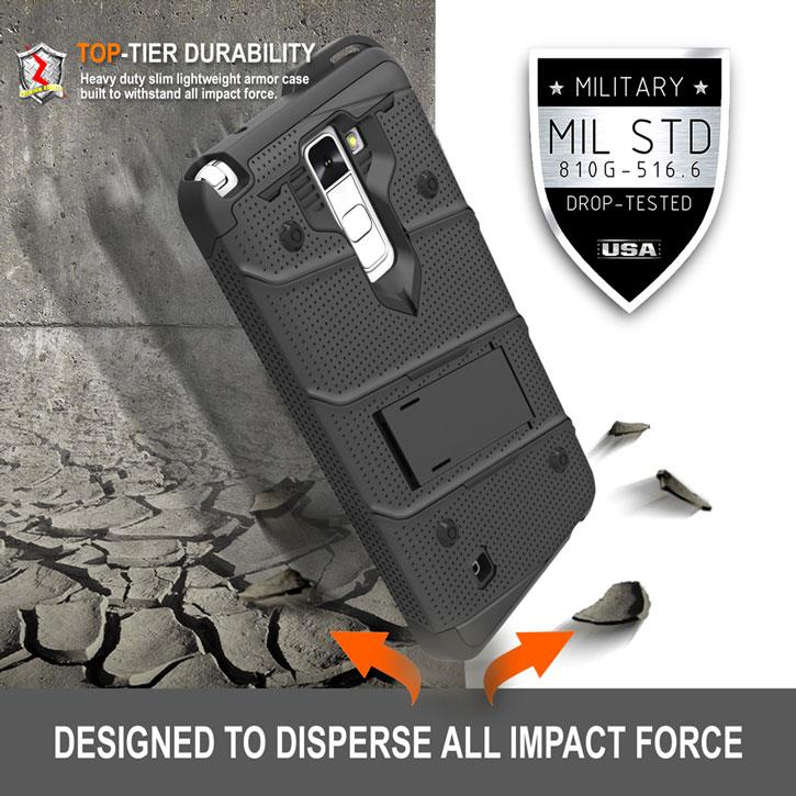 Zizo Bolt Series LG Stylus 2 Tough Case & Belt Clip - Black