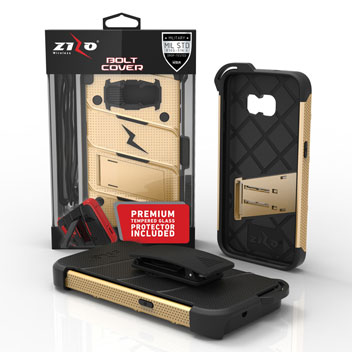 Zizo Bolt Series Samsung Galaxy S7 Tough Case & Belt Clip - Gold
