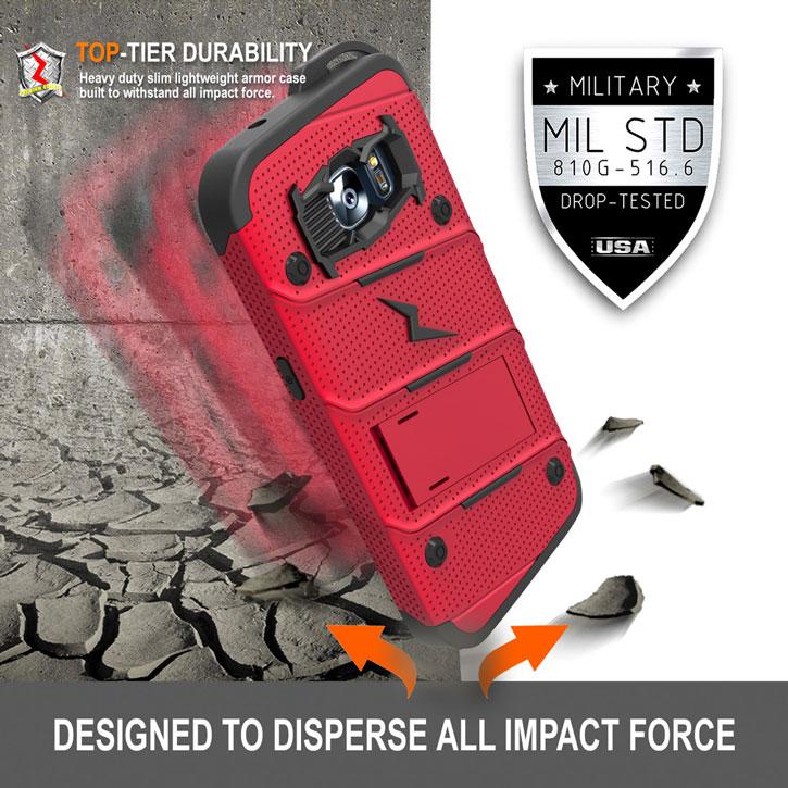 Zizo Bolt Series Samsung Galaxy S7 Tough Case & Belt Clip - Red