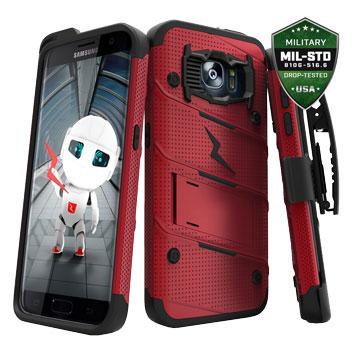 Zizo Bolt Series Samsung Galaxy S7 Edge Tough Case & Belt Clip - Red