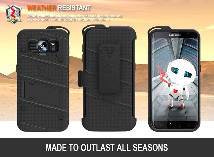 huge discount 93519 27b80 Zizo Bolt Series Samsung Galaxy S7 Edge Tough Case & Belt Clip - Black