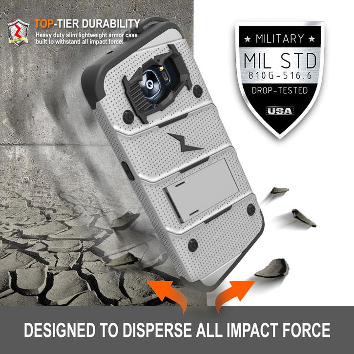 official photos 4b382 8b448 Zizo Bolt Series Samsung Galaxy S7 Edge Tough Case & Belt Clip - Steel
