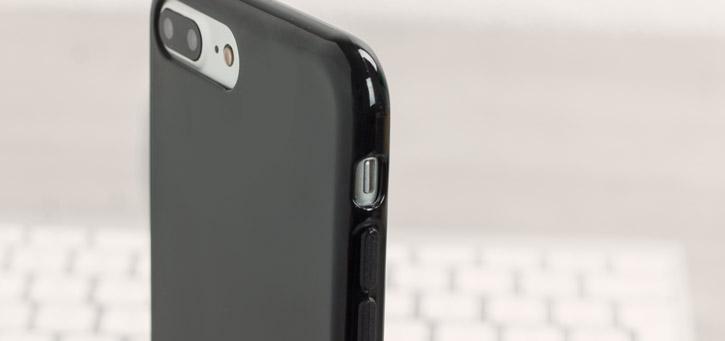 Coque iPhone 8 Plus / 7 Plus Olixar FlexiShield en gel – Noire vue sur touches