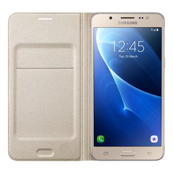 Official Samsung Galaxy J3 2016 Flip Wallet Cover - Gold