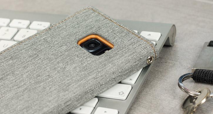 Mercury Canvas Diary Samsung Galaxy Note 7 Wallet Case - Grey / Camel