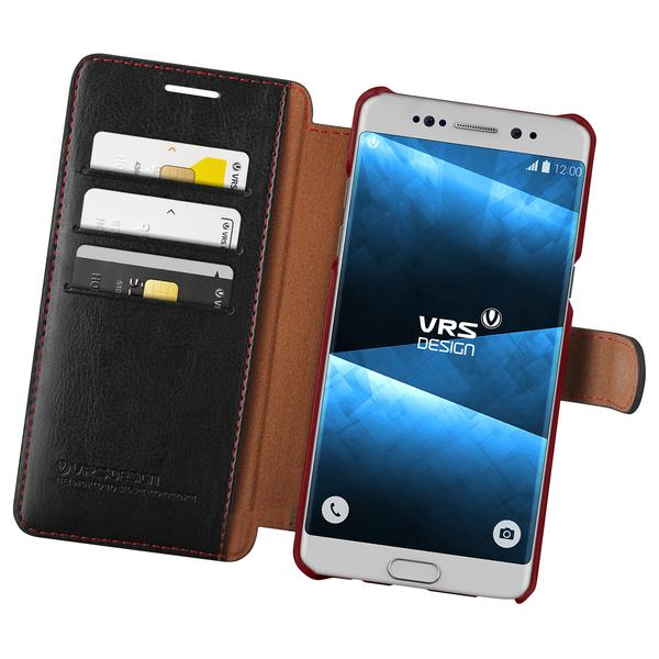 VRS Dandy Leather-Style Samsung Galaxy Note 7 Wallet Case - Black