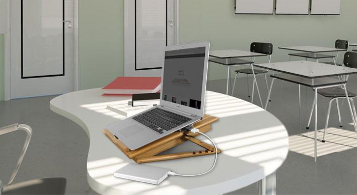 Réhausseur Macally EcoFanPro 2 Universel pour ordinateur portable - Bambou
