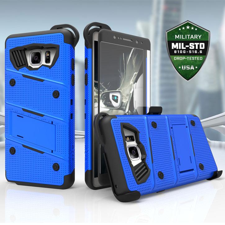 Zizo Bolt Series Samsung Galaxy S7 Edge Tough Case & Belt Clip - Blue