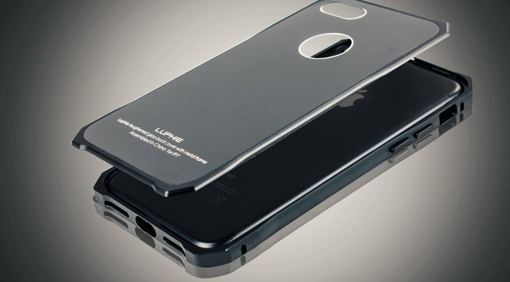 Luphie Tempered Glass and Metal iPhone 7 Bumper Case - Black