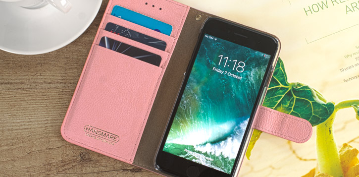 Hansmare Calf iPhone 7 Wallet Case - Wine Pink