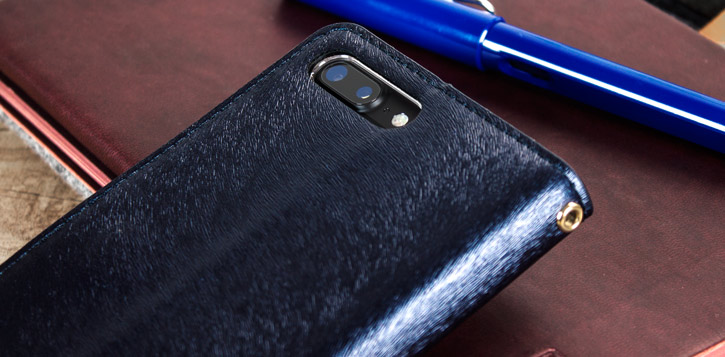 Hansmare Calf iPhone 7 Plus Wallet Case - Navy Blue