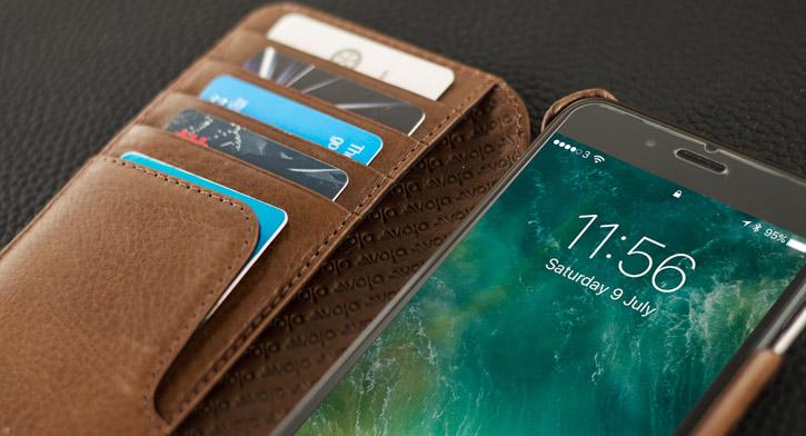 Vaja Wallet Agenda iPhone 7 Plus Premium Leather Case - Dark Brown