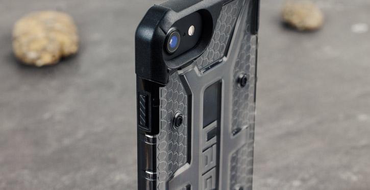 Coque iPhone 8 / 7 UAG Plasma Protective – Cendres / Noir vue sur appareil photo