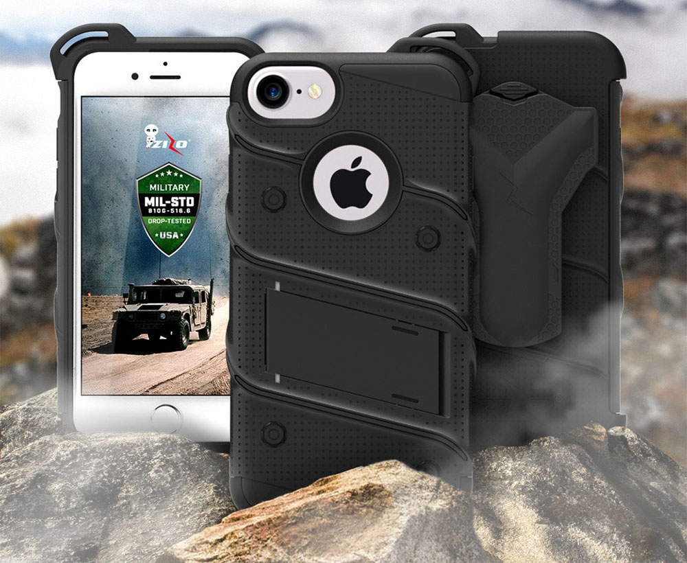 Coque iPhone 8 / 7 Zizo Bolt + Clip Ceinture - Noire