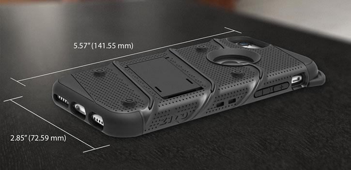 Coque iPhone 8 / 7 Zizo Bolt + Clip Ceinture - Noire vue sur touches