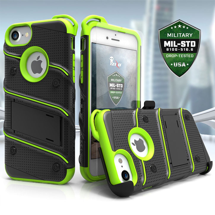 Zizo Bolt Series iPhone 7 Tough Case & Belt Clip - Black / Green