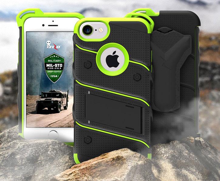Zizo Bolt Series iPhone 7 Tough Case & Belt Clip - Black / Green