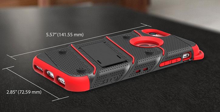 Zizo Bolt Series iPhone 7 Tough Case & Belt Clip - Black / Red