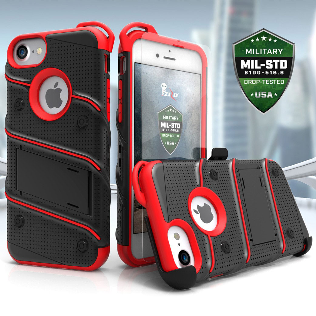 Zizo Bolt Series iPhone 7 Tough Case & Belt Clip - Black / Red
