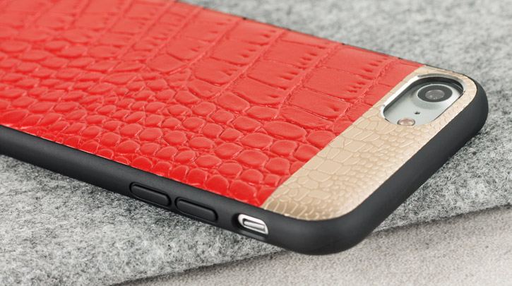 CROCO2 Genuine Leather iPhone 7 Case - Red